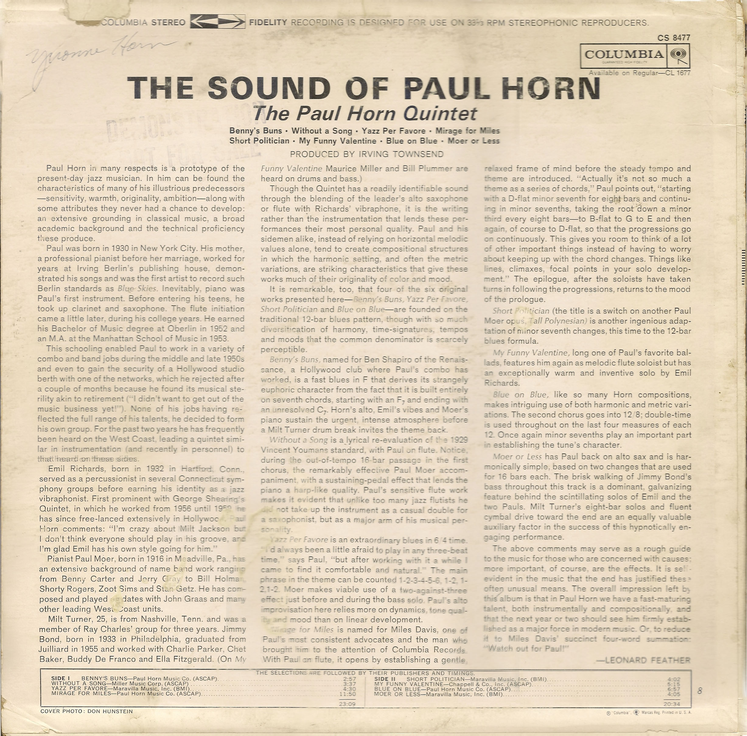 The Sound of Paul Horn - Cover Image